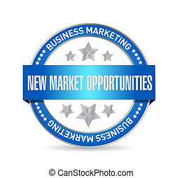 New market opportunities seal sign concept illustration...