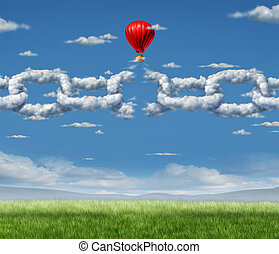 New Markets Breakthrough business concept as a group of clouds shaped as a linked chain being broken throgh by a businessman in a hot air balloon as a success metaphor for freedom from the shackles of repression and dirty air.