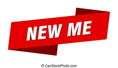new me banner template. ribbon label sign. sticker