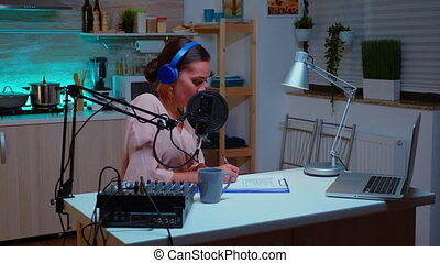 Famous influencer hosting online show from home studio using professional gear. Creative online show On-air production internet broadcast host streaming live content, recording digital social media communication