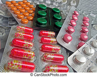 new medical antibiotics heap, aspirin pack diversity