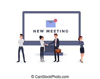 New meeting notification flat illustration