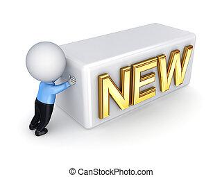 new., mensen, voortvarend, kleine, woord, 3d