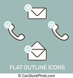 New message and calls icons set. - Vector flat icons....