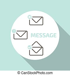 New message icons set.mobile Popup window - Vector flat...