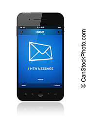 Modern mobile phone with one new message on a screen. Isolated on white.