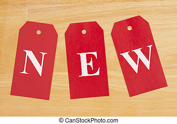 New message on three blank red gift tags