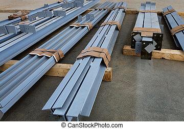 new metal beams - new welded metal beams on modern plant