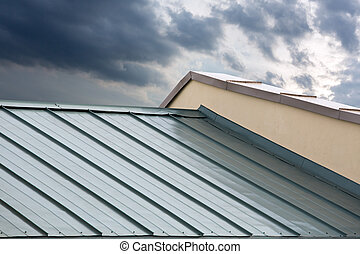 New metal roof - New corrugated metallic gray roof of new...