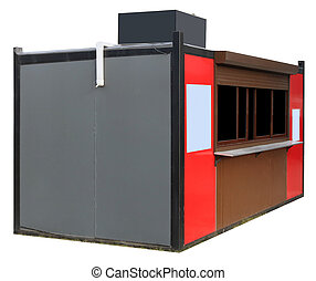 New metal street booth in which sell  fast food