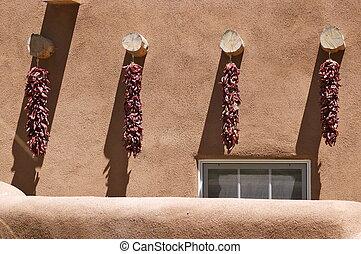 New Mexico Adobe Building Chilis