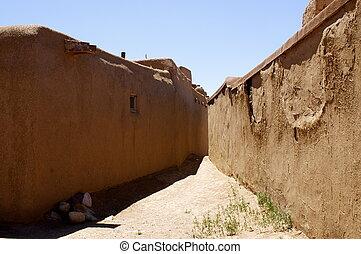 New Mexico Adobe Pueblo Building