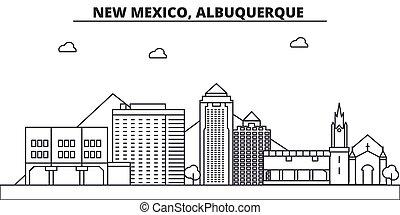 New Mexico, Albuquerque architecture line skyline...