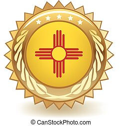 New Mexico Badge - Gold badge with the flag of New Mexico.