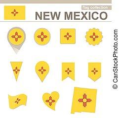 New Mexico Flag Collection, USA State, 12 versions