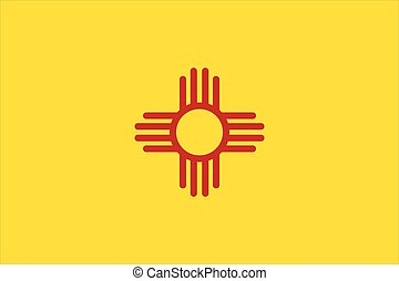 New Mexico Flag. - Flag of New Mexico - vector illustration.