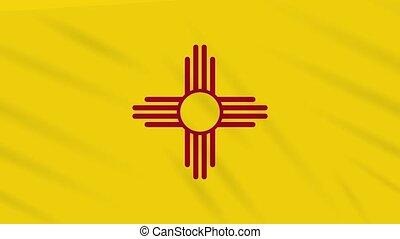 New Mexico flag flutters in the wind, loop for background