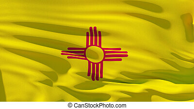 New Mexico Flag on silk texture, United States of America. High detailed 3d illustration