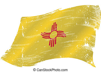 A grunge flag of new mexico in the win with a texture