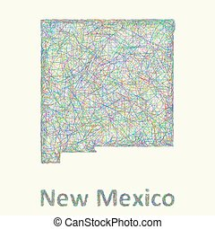 New Mexico line art map
