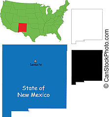 New mexico map - State of New Mexico, USA