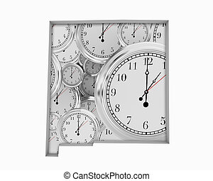 New Mexico NM Clock Time Passing Forward Future 3d Illustration