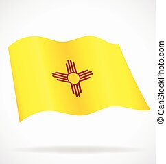 new mexico nm state flag flying waving vector