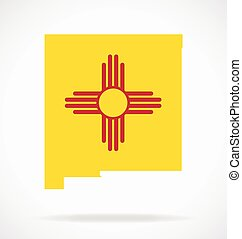 new mexico nm state map with flag vector