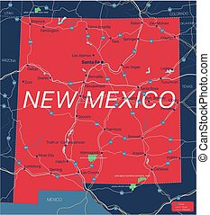 New Mexico state detailed editable map