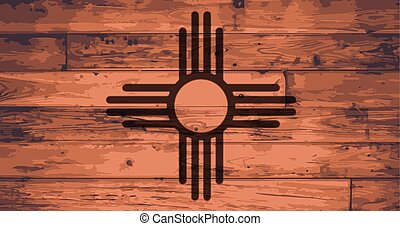 New Mexico State Flag branded onto wooden planks