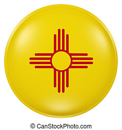 3d rendering of New Mexico State flag on a button