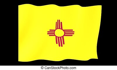 New Mexico State flag.  Waving.