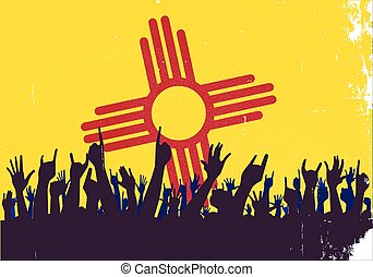 Audience happy reaction with New Mexico State flag background