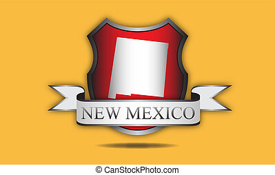 New Mexico state map, flag, and name.