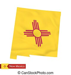 New Mexico state map with waving flag of US State.