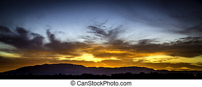 Sunrise over the Sandia Mountains, Albuquerque, New Mexico.