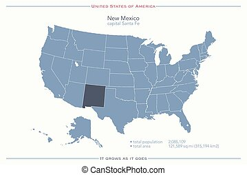 new mexico - United States of America isolated map and New ...