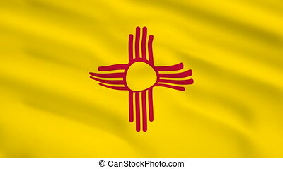 New Mexico USA flag waving in the wind
