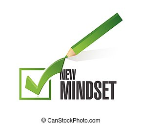 new mindset check mark pencil illustration design over a...