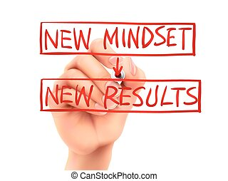 new mindset for new results words written by hand on a...