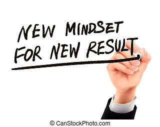 new mindset for new results written by 3d hand