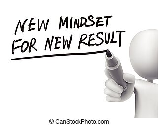 new mindset for new results written by 3d man over transparent board
