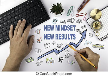 New Mindset New Results. Blue Arrow and Icons Around
