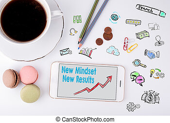 New Mindset New Results Concept. Mobile phone and coffee cup on a white office desk