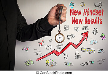 New Mindset New Results concept. Red Arrow and Icons Around. Man holding chain clock on white background