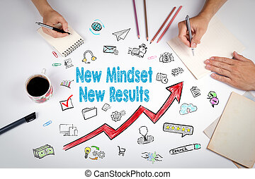 New Mindset New Results Concept. The meeting at the white office table
