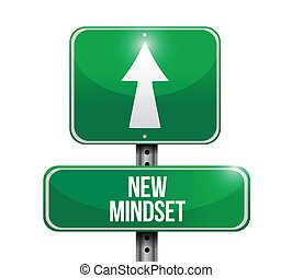 new mindset street sign illustration design over a white...