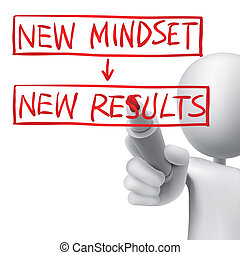 new mindset to new results written by 3d man over white