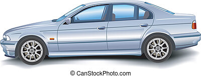 New model of vector auto on white background, template, illustration