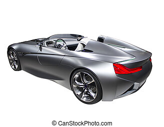 New model fast sport car silver color isolated